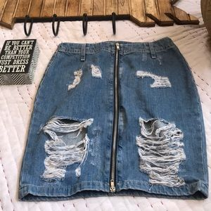 H&M Jean Distressed Skirt